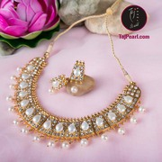 Gold plated pure pearl necklaces (Shipping Free in India)